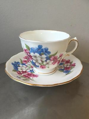 Royal Vale Floral Footed Tea Cup Saucer Bone China