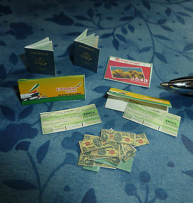 Two Passports, Money, And Two Tickets  Dollhouse Miniature Book 1:12 Scale