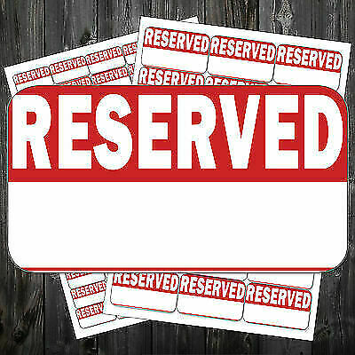 Bright Red RESERVED Stickers / Swing Tag Sticky Labels * #acp