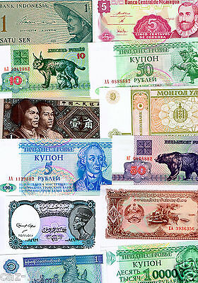 Ten (10) Different World Banknotes,Uncirculated Mint Currency Foreign Set