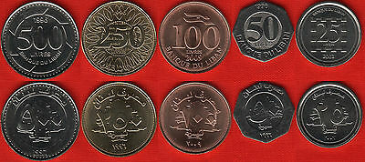 Lebanon set of 5 coins: 25-500 livres 1996-2009 UNC