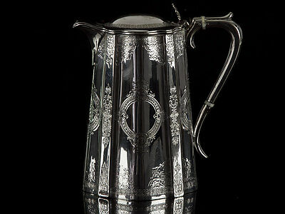 1870 Victorian Silver Plated Hot Water Lidded Jug