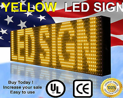 "Programmable Led Sign  10Mm 6""x25"" Yellow Scrolling Message Text Display Open"