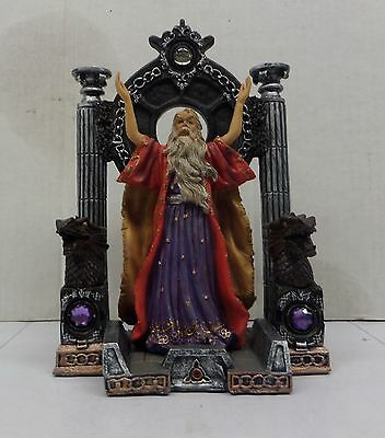 """Wizard's Lair 10"""" tall Magical Sorcerer Merlin fantasy Figurine Hand Painted nb"""