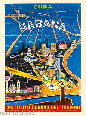 Habana City Cuba Caribbean Island Instituto Vintage Travel Advertisement Poster