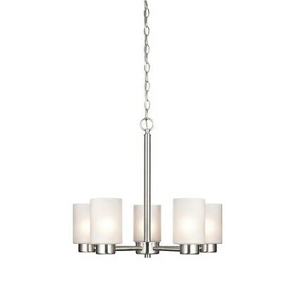 5 Light Chandelier Brush Nickel Frosted Seeded Glass Modern Adjustable Chain