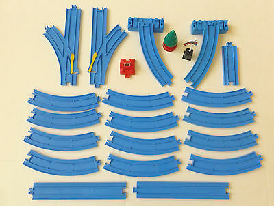 Thomas Tomy Trackmaster 22 pc BLUE TRAIN TRACK LOT-Switch Curved Straight Buffer