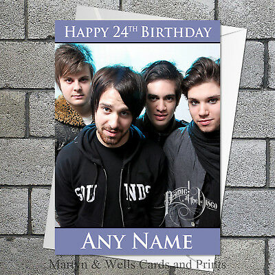 Panic at the Disco birthday card. Personalised, plus envelope. Panic!
