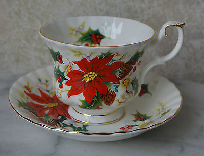 TEA CUP TEACUP SAUCER SET, Royal Albert, POINSETTIA YULETIDE, bone china