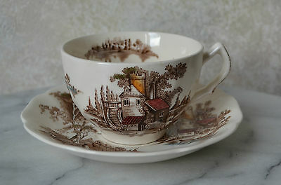 Johnson Brothers 2 pc TEA CUP SAUCER SET pat. THE OLD MILL, stoneware, Brown