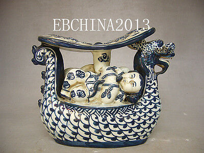 """8""""Chinese antique collection blue and white porcelain dragon boat statue"""