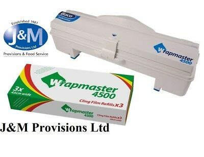 """WRAPMASTER 4500 18"""" DISPENSER + Cling Film 3 X 300m catering/industrial use"""