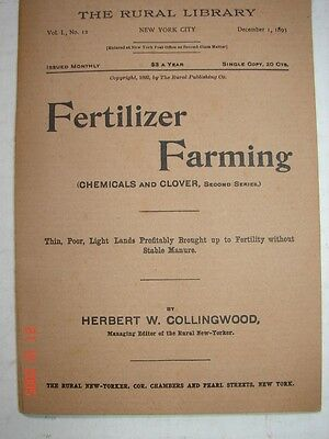 FERTILIZER FARMING - The Rural Library - Chemicals & Clover Collongwood 1893