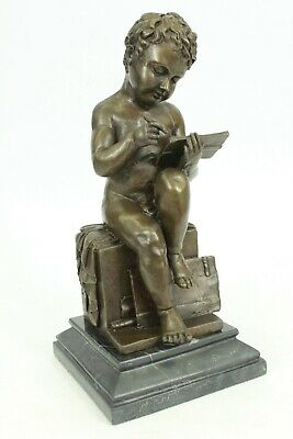 Signed Bronze Art Deco Noveau Statue Mid Century Style Children Sculpture Decor