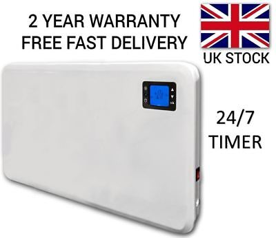 2Kw Electric Panel Heater Radiator Convector Wall Mounted Slim Timer Thermostat
