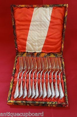 Old Newbury by Towle Sterling Strawberry Fork GW Set of 12 In Fitted Box 5 1/8""