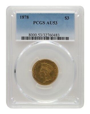 1878 PCGS AU53 $3 Princess Head Three Dollar