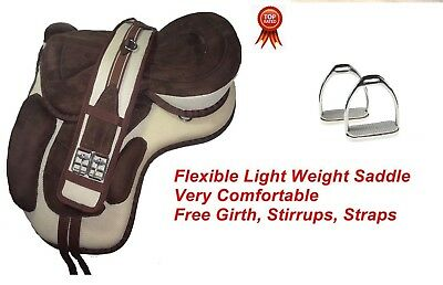 SYNTHETIC TREELESS HORSE Pony Saddle Beige 12