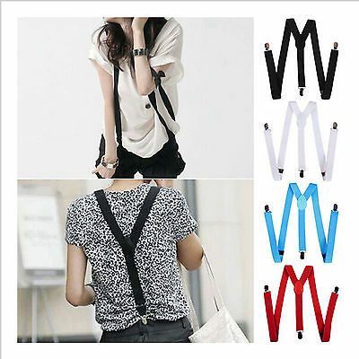 Unisex  Mens Womens Clip-on Suspenders Elastic Y-Shape Adjustable Braces