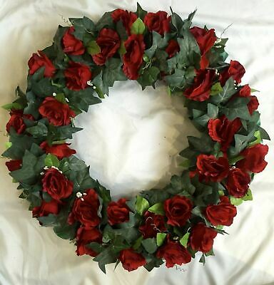 Christmas Artificial Silk Funeral Flower Wreath Ring Tribute Open Memorial Faux