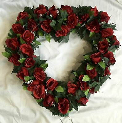 Heart Artificial Silk Funeral Flower Tribute Memorial Large Open Rose Wreath