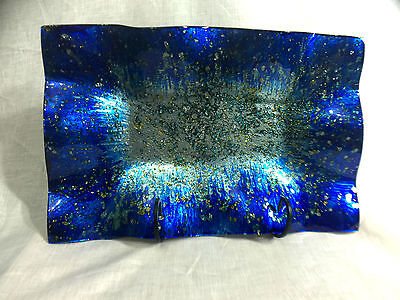 Blue Ocean Plate - RECTANGLE - Handmade and Hand-Painted - LARGE