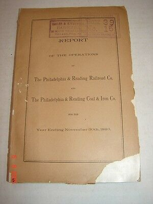LVRR - 1893 Report Philadelphia & Reading Railroad Co & Coal & Iron Co -FOLDOUTS