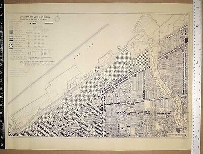 Cleveland Lakefront Zoning Map Orig Blueprint Airport to E 105th Lake Erie 1989