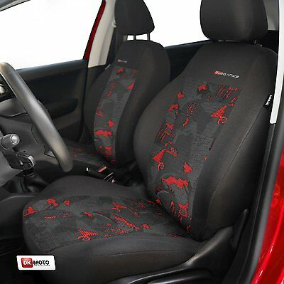 2 X CAR SEAT COVERS pair for front seats fit Peugeot 206 charcoal/red