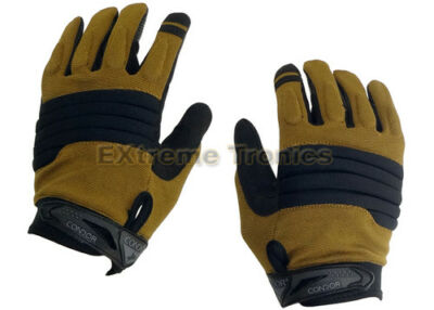 NEW CONDOR Black Tan L STRYKER Police SWAT Tactical Padded Knuckle Gloves Large