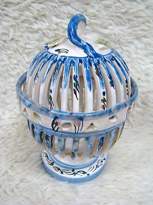 Ceramic/Pottery? Bird Cage Decorative Trinket/Dish with Lid, Collectible Home