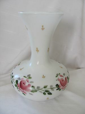 Old vintage Bristol antique white glass vase hand painted pink roses shabby chic