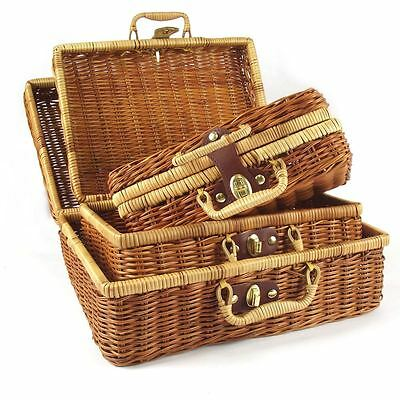 Suitcase Shaped Wicker Basket with Lock and Clasp! Hamper Lunch Box Trunk