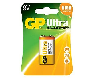 1 x GP ULTRA ALKALINE 9V PP3 BATTERY PP3 MN1604 6LR61 BLOCK 6LF22