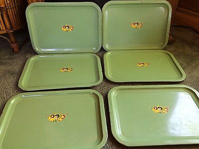 Set of 6 Vintage Green Lady in a Hat Tin Metal Trays
