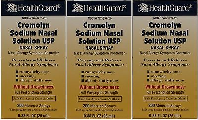 Cromolyn Solution For Nasal Allergies Generic for Nasalcrom 0.88 oz  PACK of 3