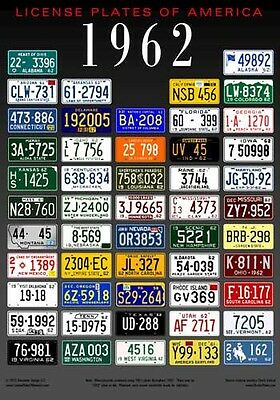 License Plates of America poster - 1962