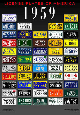 License Plates of America poster - 1959