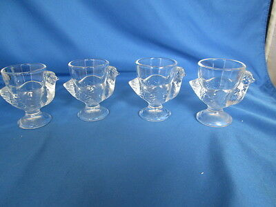 Set of 4 Coquetier Egg Cups Clear Glass Chick Figure Cristal D'Arques Durand FR