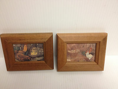 """Rooster And Chicken Pictures Set Of 2   5"""" X 4"""""""