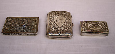 Magnificent 3P 1900 English & Dutch Sterling Silver Boxes