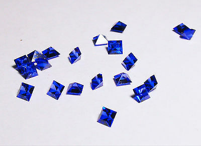 Blue Sapphire Synthetic 2mm x 2mm Princess Cut Loose Gemstones Pack of 20