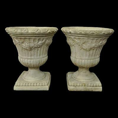 Pair Vintage Floral Drape Neoclassical Style Urn Form Concrete Outdoor Planters