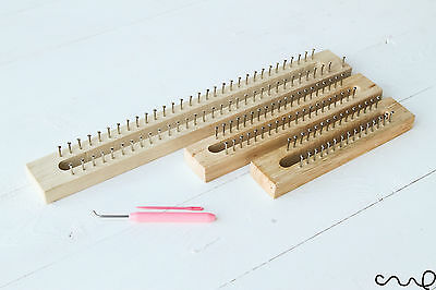 NEW Wooden Knitting Loom Fine Gage Board with Loom Hook Needle 30, 40, 62 pins