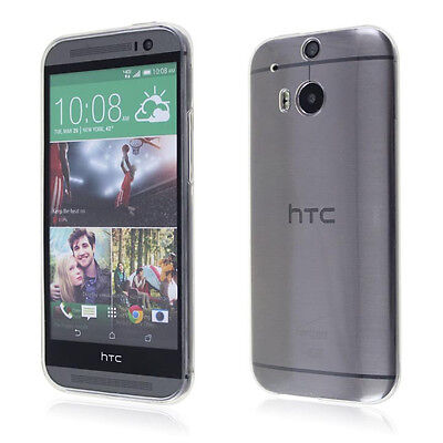 2xUltra Thin Clear Transparent Gel skin case cover For HTC One2 M8