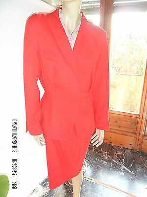 Tailleur Thierry Mugler Vintage Originale Gonna+Giacca Tg 48 Donna Rosso.