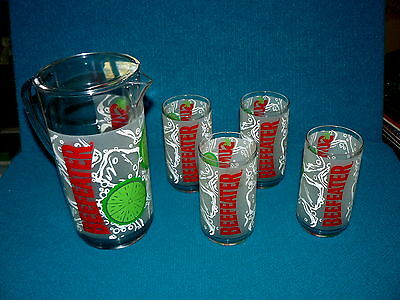Rare! BEEFEATER GIN : pitcher & tumbler RUBBERMAID SET @ Man-Cave BAR or PARTY