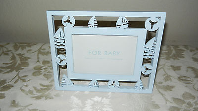 """For Baby Light Blue Sailboat Picture Frame Fits 3 1/2 x 5 """" Photo New w/out Box"""