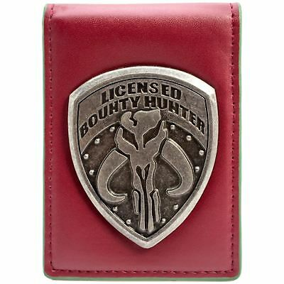 New Official Star Wars Bounty Hunter Badge Red Id & Card Bi-Fold Wallet