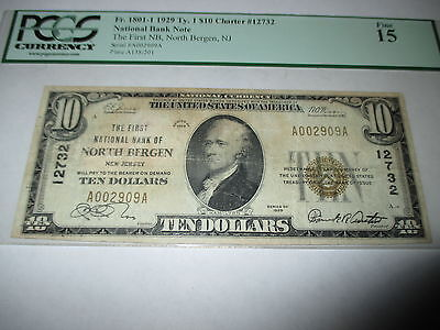 $10 1929 North Bergen New Jersey NJ National Currency Bank Note Bill #12732 Fine
